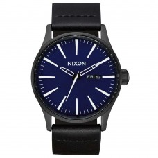 Nixon Sentry Leather All Black / Dark Blue