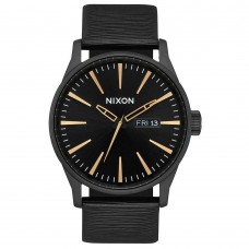 Nixon Sentry Leather All Black / Gold / White